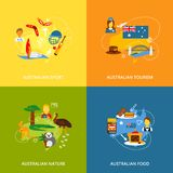Australia icons set flat Royalty Free Stock Images