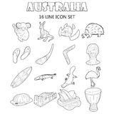 Australia icons set, outline style Stock Photo