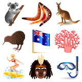 Australia icons vector set. Australia icons detailed photo realistic vector set Stock Image