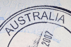 Australia immigration arrival passport stamp Royalty Free Stock Photo