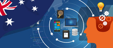 Australia IT information technology digital infrastructure connecting business data via internet network using computer Royalty Free Stock Photo