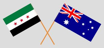 Australia and Interim Government of Syria. The Australian and Coalition flags. Official colors. Correct proportion. Vector. Illustrationn stock illustration