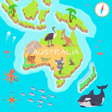 Australia Isometric Map with Flora and Fauna. Cartography concept with nature. Geographical map with local fauna. Australia continent with mammals and sea life Royalty Free Stock Images