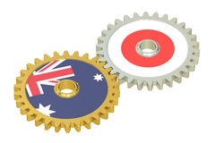 Australia and Japan flags on a gears, 3D rendering Stock Photo