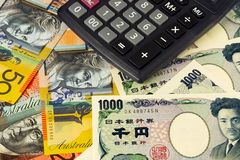 Australia and Japanese currency pair Royalty Free Stock Images