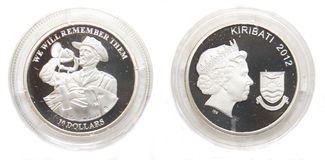 Australia and Kiribati 10 Dollars Silver coin Stock Photography