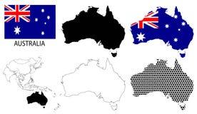 Australia Konturowe mapy, mapa -, flaga państowowa i Azja wektor Zdjęcia Stock