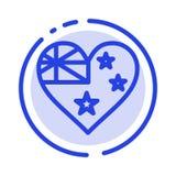 Australia, kraj, flaga, naród linii linii błękit Kropkująca ikona royalty ilustracja