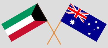 Australia and Kuwait. The Australian and Kuwaiti flags. Official colors. Correct proportion. Vector. Illustrationn royalty free illustration