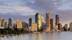 Australia Landscape : Brisbane city riverside skyline. Panorama view off Brisbane riverside skyline and Eagle Street area at sunset royalty free stock image