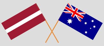 Australia and Latvia. The Australian and Latvian flags. Official colors. Correct proportion. Vector illustration. N vector illustration