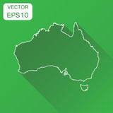 Australia linear map icon. Business cartography concept outline. Australia pictogram. Vector illustration on green background with long shadow Stock Photo