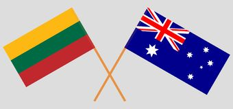 Australia and Lithuania. The Australian and Lithuanian flags. Official colors. Correct proportion. Vector. Illustrationn royalty free illustration
