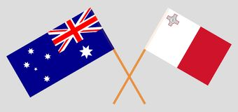 Australia and Malta. The Australian and Maltese flags. Official colors. Correct proportion. Vector. Illustrationn royalty free illustration