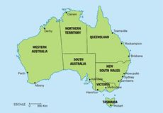 Australia map. An Australia map, with the territorries separated and the main cities