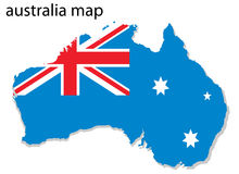 Australia map. Illustration of Australia map with flag stock illustration