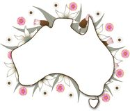 Australia Map. Australian map wth native flora background Stock Photo