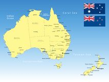 Australia map. Australia and New Zealand vector Map with Flag Royalty Free Stock Photography