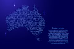 Australia map abstract schematic from blue ones and zeros binary. Digital code with space stars for banner, poster, greeting card. Vector illustration royalty free illustration