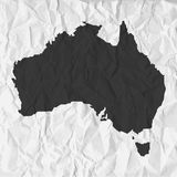 Australia map in black on a background crumpled paper Stock Photo