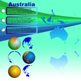 Australia map on blue background vector. Australia map with shadow on blue background with world globes vector Royalty Free Stock Image