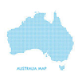 Australia map. With blue dotted pattern isolated on white background. For Holiday cards, Advertising, Promotion, Travel poster, Vacation, web banners design Royalty Free Stock Photography