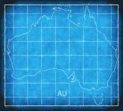 Australia map blue print artwork illustration silhouette Stock Images