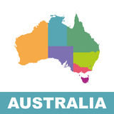 Australia map color with regions. Vector flat Stock Images