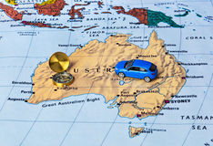 Australia map and compass Stock Image