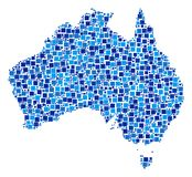 Australia Map Composition of Pixels. Australia map mosaic of random square elements in different sizes and blue color hues. Vector small square are arranged into royalty free illustration