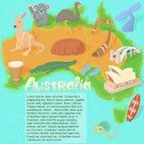 Australia map concept, cartoon style. Australia map concept in cartoon style vector illustration Royalty Free Stock Photos