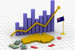 Australia map and currency. Business growth graph with Australia map and currency Royalty Free Stock Photography
