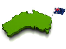 Australia - Map and Flag. 3D render of the map of Australia and the australian flag Royalty Free Stock Image