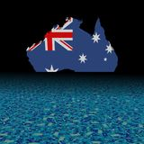 Australia map flag with abstract dollar foreground illustration. Australia map flag with abstract dollar foreground and black background 3d illustration Stock Photography