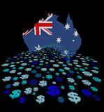 Australia map flag with abstract dollars illustration. Australia map flag with abstract dollars foreground on black illustration stock illustration