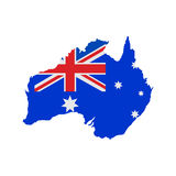 Australia map with flag Stock Images