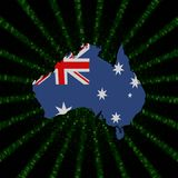 Australia map flag on green hex code burst illustration. Australia map flag on green hex code burst 3d illustration Royalty Free Stock Photography