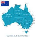 Australia - map and flag - illustration Stock Image