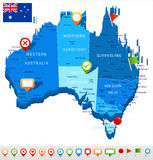 Australia - map and flag - illustration Royalty Free Stock Images