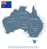 Australia - map and flag - illustration Royalty Free Stock Photo