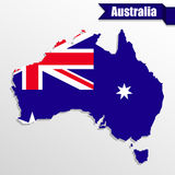 Australia map with flag inside and ribbon Royalty Free Stock Images