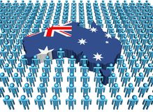 Australia map flag with people. Australia map flag surrounded by many abstract people illustration Stock Photo