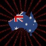 Australia map flag on red hex code burst illustration. Australia map flag on red hex code burst 3d illustration stock illustration