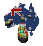 Australia map flag with ships. Australia map flag with container ships illustration Royalty Free Stock Photography