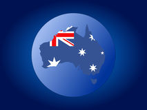 Australia map flag sphere. Map and flag of Australia sphere illustration Royalty Free Stock Photos