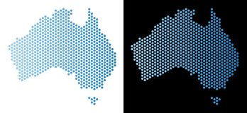 Australia Map Hexagonal Mosaic. Honeycomb Australia map. Vector geographic scheme in light blue color with horizontal gradient on white and black backgrounds Stock Photos