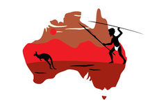 Australia map and hopping kangaroo Royalty Free Stock Photo