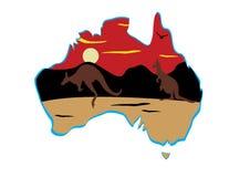 Australia map and hopping kangaroo Stock Photos
