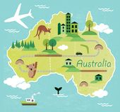 Australia. Map with landscape and animal stock illustration