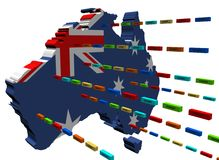 Australia map with lines of containers. Australia map with lines of export containers illustration Stock Photo